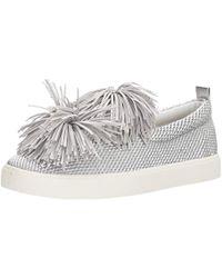 c4955f7858610 Lyst - Sam Edelman Emory Metallic Suede Pom Pom Tassel Sneakers in ...