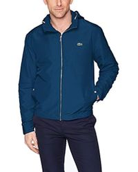 14627f4a61745 Lyst - Lacoste Unisex Live Wool Broadcloth Buttoned Pea Coat in Blue ...