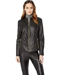 Cole Haan - Faux Leather Ruffle Collar Jacket - Lyst