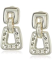 Napier - Silver With Antique Drop Clip On Earrings - Lyst