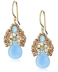 """Miguel Ases - Blue Jade And Smoky Created Quartz Drop Earrings, 1.4"""" - Lyst"""