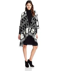Kensie - Open Front Fringe Poncho - Lyst