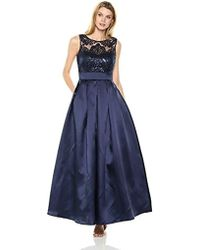 Eliza J Gown With Sequin Lace Bodice - Blue