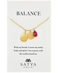 """Satya Jewelry - Classics Gold-plated Ruby Lotus Three-charm Necklace, 18"""" - Lyst"""