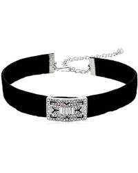 "Kenneth Jay Lane - Black Velvet With Silver/crystal Deco Choker Necklace, 12"" + 4"" Extender - Lyst"