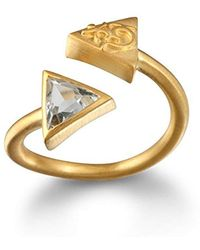 Satya Jewelry - Green Amethyst Gold Plate Triangle Om Adjustable Ring, Size - Lyst