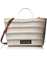 391b8193aa93 Calvin Klein - Morgan Woven Novelty Large Tote - Lyst