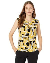 Kasper Short Sleeve Scoop Neck Brushstroke Printed Ity - Multicolor