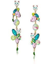 Betsey Johnson - Colorful Stone And Cat Cluster Linear Earrings - Lyst