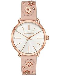 Michael Kors - Watches S Portia Rose Gold-tone And Blush Leather Floral - Lyst