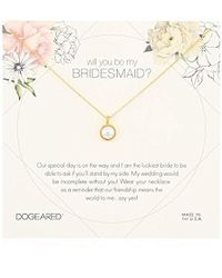 "Dogeared - Will You Be My Bridesmaid Flower Card Large Bezel Pearl Pendant Chain Neckalce, 16"" + 2"" Extension - Lyst"