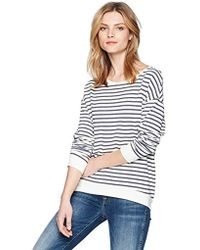 Majestic Filatures - French Terry Striped Crew Neck Sweater - Lyst