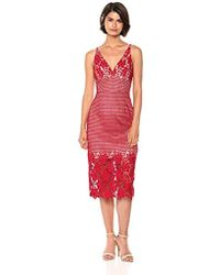 Dress the Population - Aurora Lace Plunging Spaghetti Strap Midi Sheath - Lyst