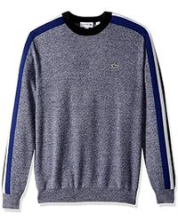 Lacoste - Mouline Jersey And Jacquard Wool Blend Sweater With Stripes, - Lyst