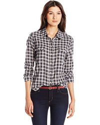PAIGE - Trudy Shirt-dark Ink Blue/rose Dust - Lyst
