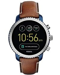 Fossil - Q Gen 3 Explorist Stainless Steel Quartz Watch With Leather Strap, Brown, 22 (model: Ftw4004 - Lyst