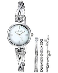 Anne Klein - Swarovski Crystal Accented Silver-tone Watch And Bracelet Set - Lyst