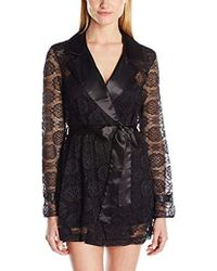 Betsey Johnson - Satin And Lace Glam Trench Robe - Lyst