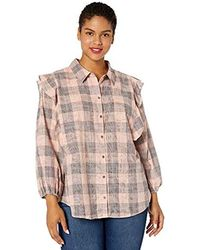 Jessica Simpson Sadie Double Ruffle Button Up Blouse - Pink
