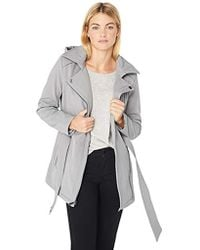 BCBGeneration - Soft Shell Asymmetrical Zip Belted Coat With Hood, - Lyst