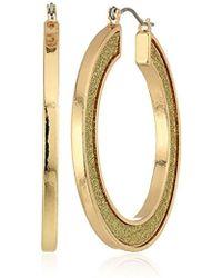Steve Madden - Gold Plated Stainless Steel Round Flat Hoop Glitter Hinge Drop Earrings - Lyst