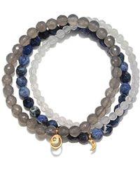 Satya Jewelry - Sodalite, Grey Agate, White Jade Gold Moon Stretch Bracelet Set, One Size, Blue - Lyst