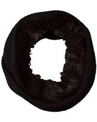Badgley Mischka - Honeycomb Stitch Collar Scarf With Faux Chinchilla - Lyst