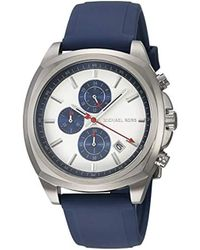 Michael Kors - 'bryson' Quartz Stainless Steel And Silicone Watch, Color:blue (model: Mk8648) - Lyst