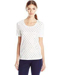 Joan Vass - Studded Cotton T-shirt - Lyst