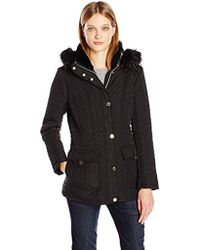 Jessica Simpson - Quilted Coat With Faux Fur Hood - Lyst