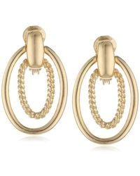 """Napier - """"with A Twist"""" Gold-tone Rope Accented Doorknocker Earrings - Lyst"""