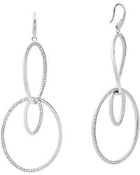 Michael Kors - S Brilliance Silver-tone Drop Hoop Earrings, One Size - Lyst