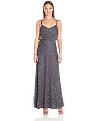 Adrianna Papell - Long Beaded Blouson Gown - Lyst