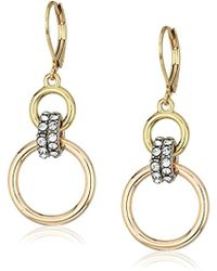 Kenneth Cole - Kenneth Cole New Trinity Rings Tri-tone Double Drop Earrings - Lyst