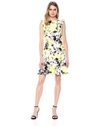 Donna Morgan - Printed Crepe Ruffle Dress - Lyst
