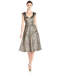 Tracy Reese - Antique Gold Stretch Lame Fit & Flare Frock Dress - Lyst