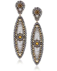 Miguel Ases - Gold-filled, Pyrite, And Swarovski Posted Marquis Drop Earrings - Lyst