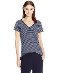 Vince - S/s Striped V Neck Tee - Lyst