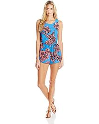 ecfe86c575b2 Lyst - Free People Ashley Print Linen Blend Romper