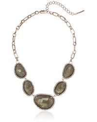 T Tahari - Mystic Sands Frontal Statement Necklace With Stones, Rose Gold, One Size - Lyst
