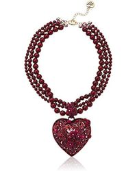 Betsey Johnson - Roses Large Statement Red Flower Heart Pendant Necklace - Lyst