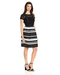Ellen Tracy - Mixed Media Dress With Pique Stripe Combo - Lyst