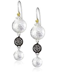 """Gurhan - """"lentil Ice"""" Sterling Silver And Diamond Pave Drop Earrings - Lyst"""