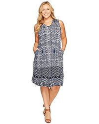 Lauren by Ralph Lauren Plus Size Printed Faux-Wrap Dress in Blue - Lyst