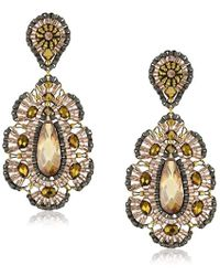 Miguel Ases - Bronze Cz Rondelle Embroidered Drop Earrings - Lyst