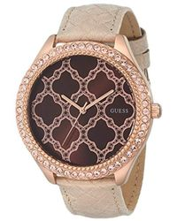 Guess - U0579l2 Rose Gold-tone Watch With Brown Dial & Genuine Leather Strap - Lyst