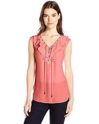 Jones New York - Soft Ruffle Laceup Top - Lyst