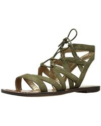b7d16270b Lyst - Sam Edelman Gemma Caged Lace Up Sandals in White