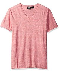 Armani Exchange - | Cotton Linen Vneck Tee - Lyst