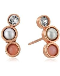 Dogeared - Playing By Ear Two Hole Lip Card Trio-pink Opal, Pearl Crystal Stud Earrings, Rose Gold - Lyst